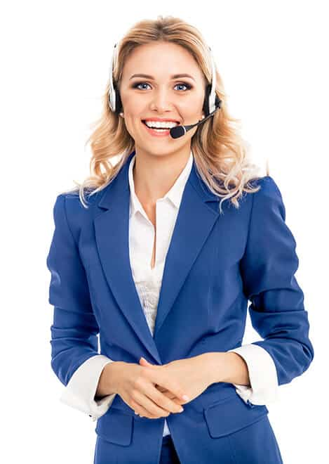 Contact Support woman in Blue blazer wearing phone headset