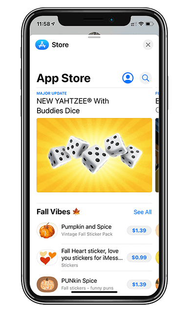 Iphone Imessage app store selection Yahtzee