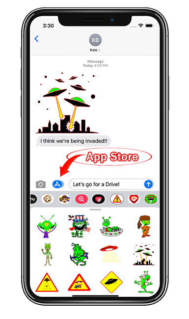 Iphhone Imessage sticker App store arrow circled