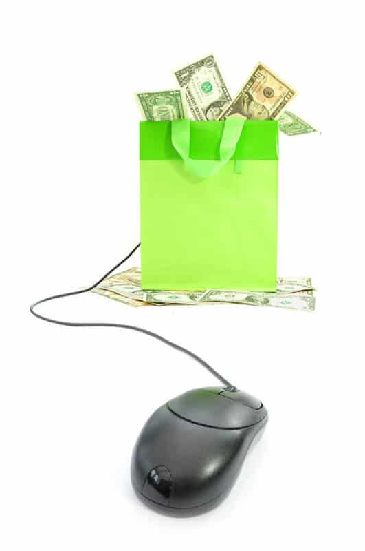 Mouse and cash shopping green bag