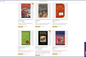Tygeronline.com/store Harry Potter Books - Showing Grid Layouts Sample Page along with Purple Pop-up